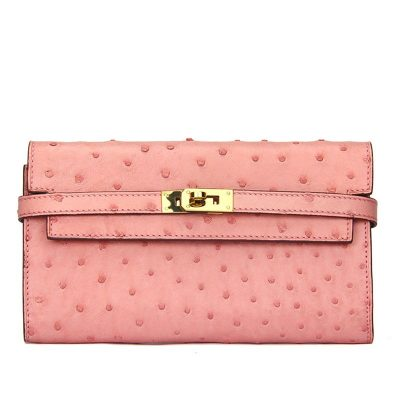 Ostrich Leather Wallet Clutch Purse-Pink