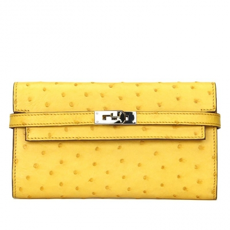 Ostrich Leather Wallet Clutch Purse-Yellow