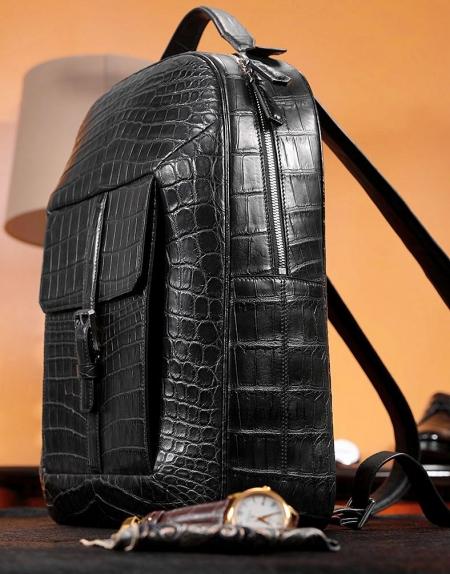 Alligator Leather Backpack Stylish Alligator Travel Bag-1