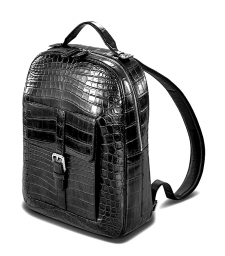 Alligator Leather Backpack Stylish Alligator Travel Bag-Micro Side