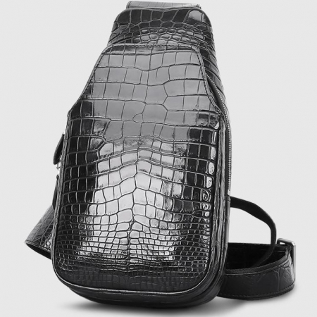 Alligator Skin Bag Outdoor Chest Pack Shoulder Backpack-Front