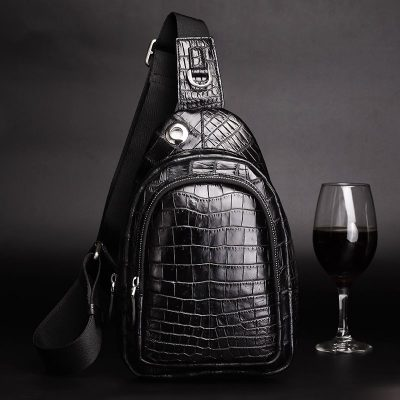 Casual Travel Alligator Leather Shoulder Sling Backpack Bag-Display