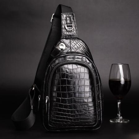 Casual Travel Alligator Leather Shoulder Sling Backpack Bag-Display