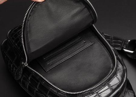 Casual Travel Alligator Leather Shoulder Sling Backpack Bag-Front-Inside