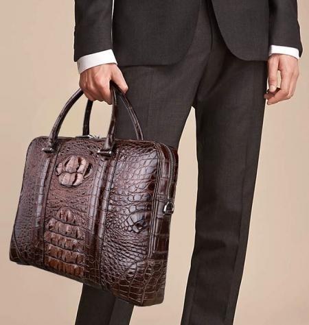 Classic Crocodile Leather Briefcase Laptop Bag Business Bag for Men