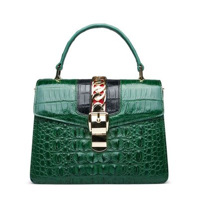 Crocodile Handbags Purses Shoulder Bags for Women-Green