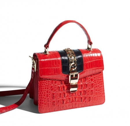 Crocodile Handbags Purses Shoulder Bags for Women-Red