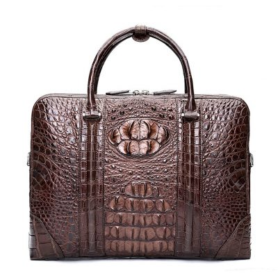 Handmade Classic Crocodile Leather Briefcase Laptop Bag Business Bag