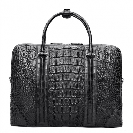 Handmade Classic Crocodile Leather Briefcase Laptop Bag Business Bag-Black-Back