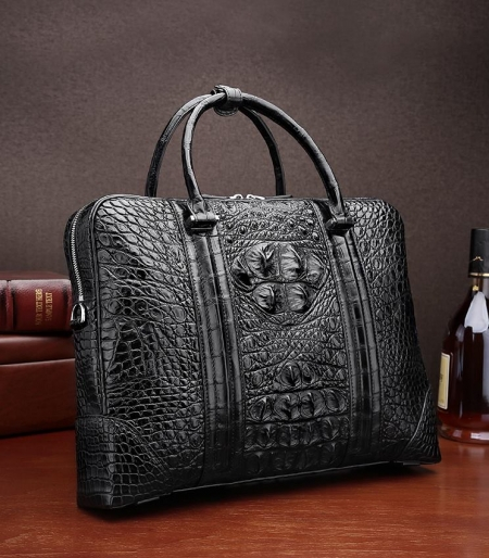 Handmade Classic Crocodile Leather Briefcase Laptop Bag Business Bag-Black-Display