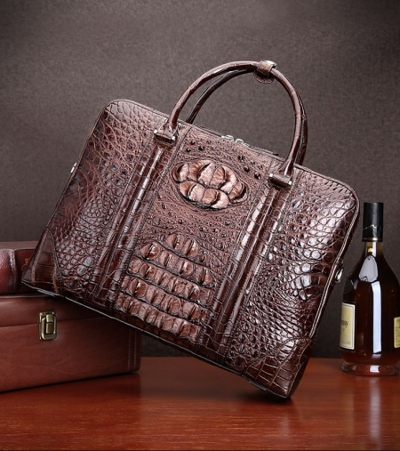 Handmade Classic Crocodile Leather Briefcase Laptop Bag Business Bag-Display
