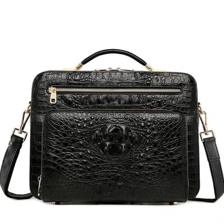 Handmade Crocodile Leather Briefcase Messenger Laptop Bag-Black