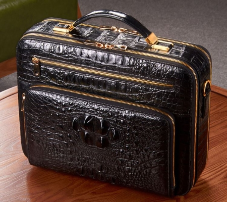 Handmade Crocodile Leather Briefcase Messenger Laptop Bag-Display