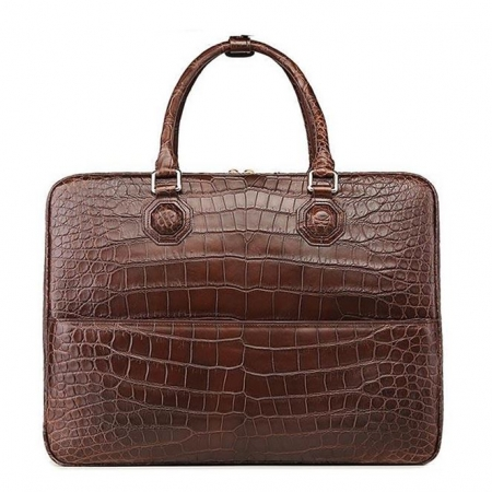 Large Alligator Leather Business Trip Briefcase for Men