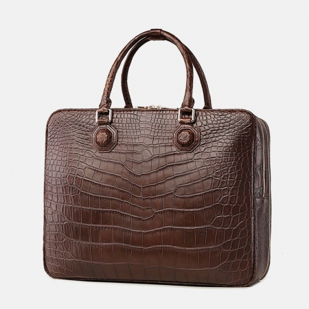 Large Alligator Leather Business Trip Briefcase for Men-Back