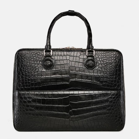 Large Alligator Leather Business Trip Briefcase for Men-Black