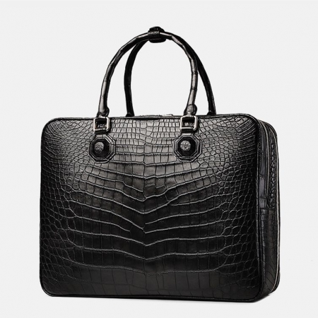 Large Alligator Leather Business Trip Briefcase for Men-Black-Back
