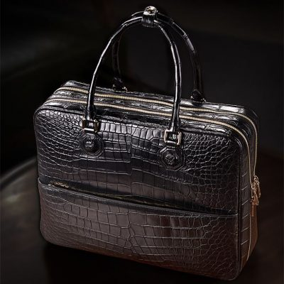 Large Alligator Leather Business Trip Briefcase for Men-Black-Display