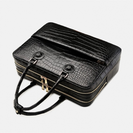 Large Alligator Leather Business Trip Briefcase for Men-Black-Handle