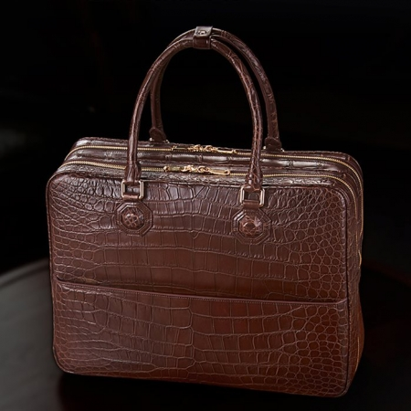 Large Alligator Leather Business Trip Briefcase for Men-Display