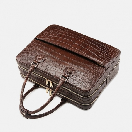 Large Alligator Leather Business Trip Briefcase for Men-Handle