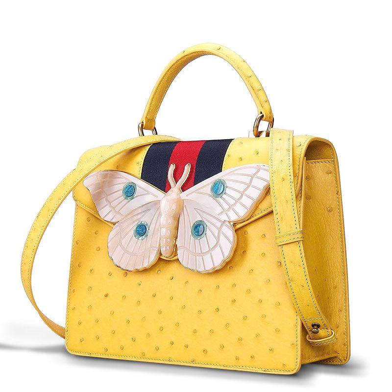 Luxury Genuine Ostrich Leather Handbag