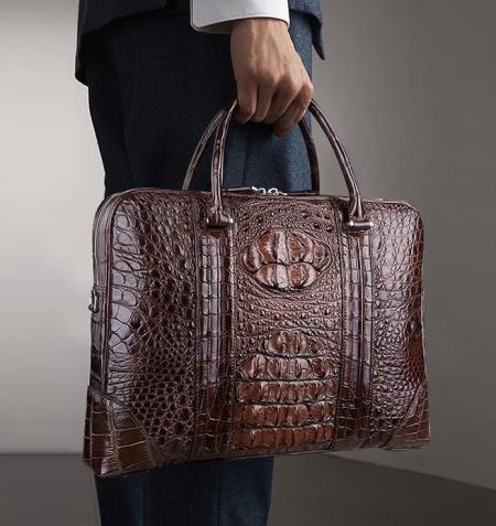 Mens Classic Crocodile Leather Briefcase Laptop Bag Business Bag