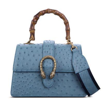 Ostrich Handbag Flapover Cross Body Bag with Bamboo Handle