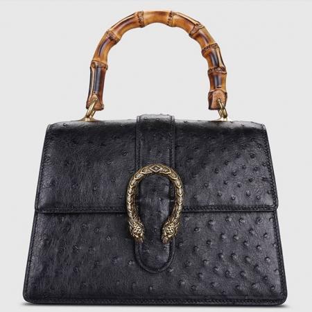 Ostrich Handbag Flapover Cross Body Bag with Bamboo Handle-Black