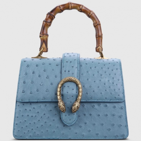 Ostrich Handbag Flapover Cross Body Bag with Bamboo Handle-Blue