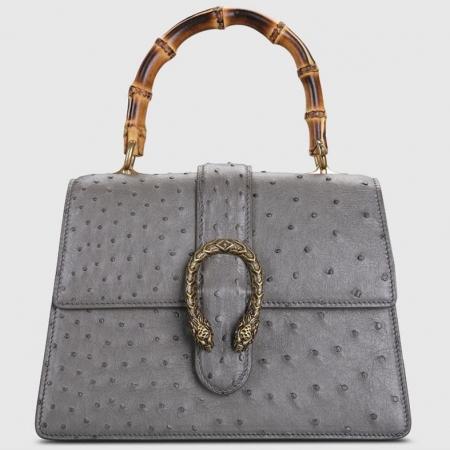 Ostrich Handbag Flapover Cross Body Bag with Bamboo Handle-Gray