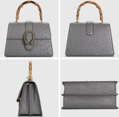 Ostrich Handbag Flapover Cross Body Bag with Bamboo Handle-Gray-Display