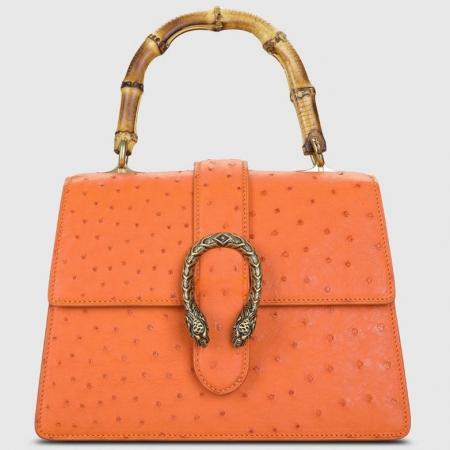 Ostrich Handbag Flapover Cross Body Bag with Bamboo Handle-Orange