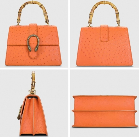 Ostrich Handbag Flapover Cross Body Bag with Bamboo Handle-Orange-Display