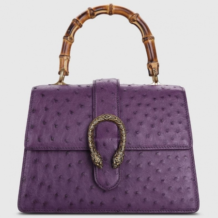 Ostrich Handbag Flapover Cross Body Bag with Bamboo Handle-Purple