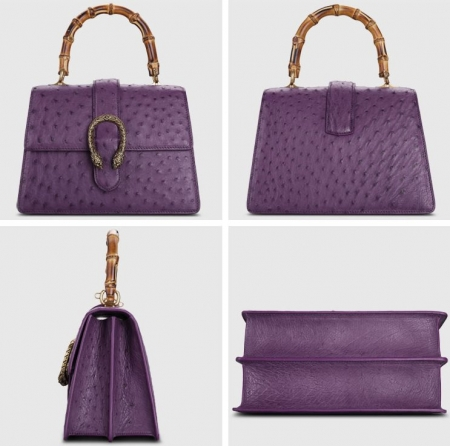 Ostrich Handbag Flapover Cross Body Bag with Bamboo Handle-Purple-Display