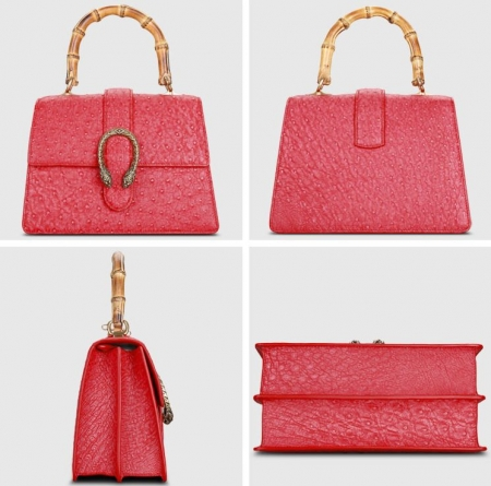 Ostrich Handbag Flapover Cross Body Bag with Bamboo Handle-Red-Display
