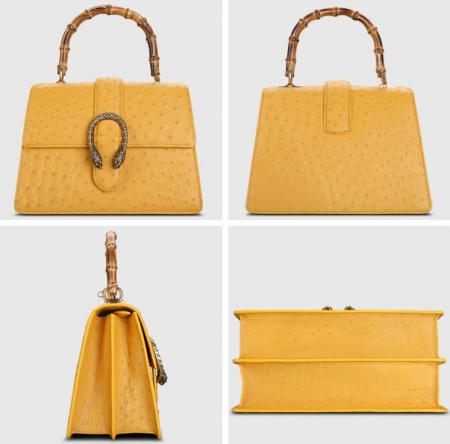 Ostrich Handbag Flapover Cross Body Bag with Bamboo Handle-Yellow-Display