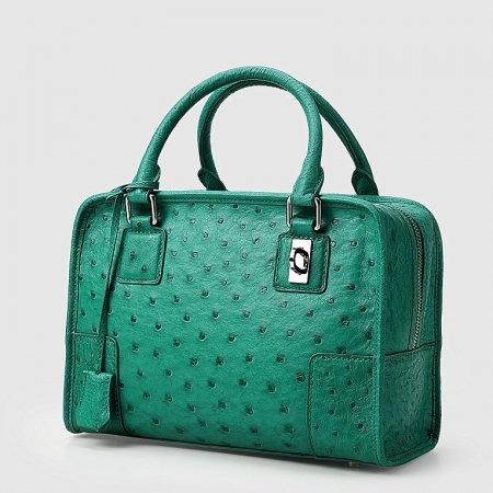 Ostrich Leather Satchel Ostrich Leather Handbag-Green