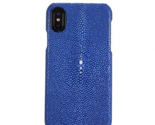 Polished Stingray Skin iPhone X Case-Blue