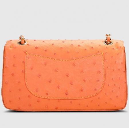Stylish Ostrich Leather Purse Crossbody Shoulder Bag-Back