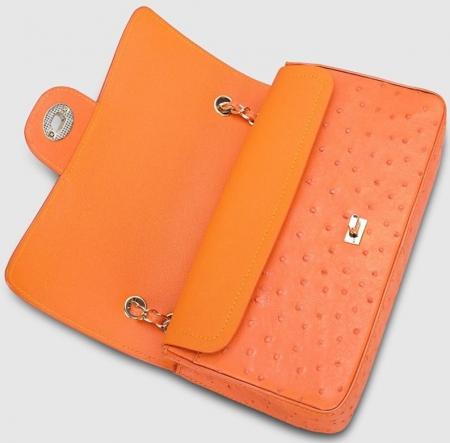 Stylish Ostrich Leather Purse Crossbody Shoulder Bag-Orange
