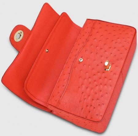 Stylish Ostrich Leather Purse Crossbody Shoulder Bag-Red