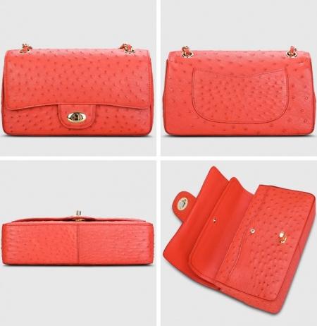Stylish Ostrich Leather Purse Crossbody Shoulder Bag-Red-Display