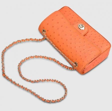 Stylish Ostrich Leather Purse Crossbody Shoulder Bag-Strap