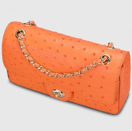 Stylish Ostrich Leather Purse Crossbody Shoulder Bag-Top