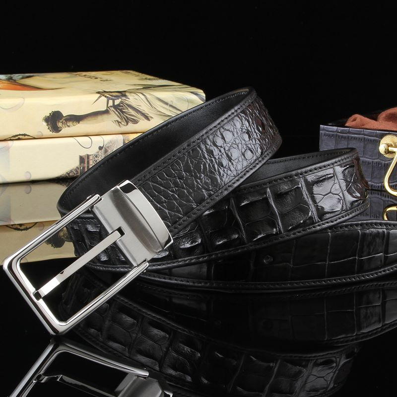 luxury men's belt brand-BRUCEGAO alligator belt