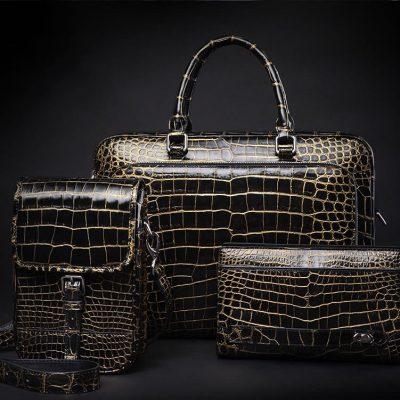 Alligator Leather Briefcase Shoulder Laptop Business Bag