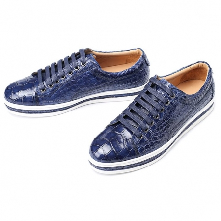 Alligator Leather Lace Up Sneakers for Men-Blue