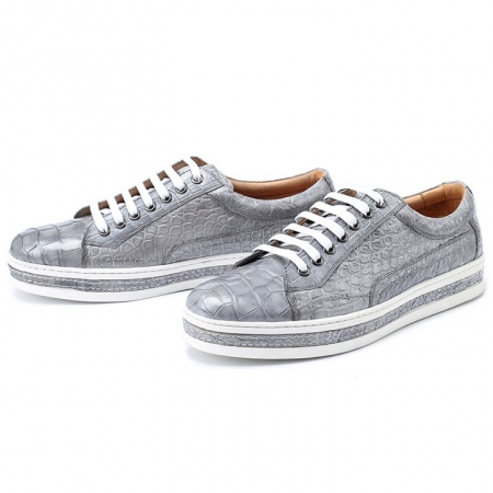 Alligator Leather Lace Up Sneakers for Men-Gray